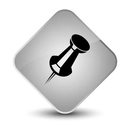 diamond: Push pin icon isolated on elegant white diamond button abstract illustration