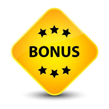 Bonus stars icon isolated on elegant yellow diamond button abstract illustration