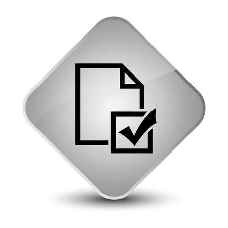 Survey icon isolated on elegant white diamond button abstract illustration Stock Photo