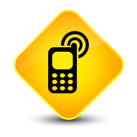telephone: Cellphone ringing icon isolated on elegant yellow diamond button abstract illustration