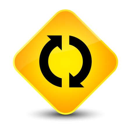 Icono de actualización aislado en elegante ilustración abstracta de botón de diamante amarillo