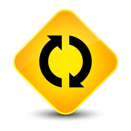 improving: Update icon isolated on elegant yellow diamond button abstract illustration