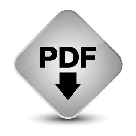 diamond: PDF download icon isolated on elegant white diamond button abstract illustration Stock Photo