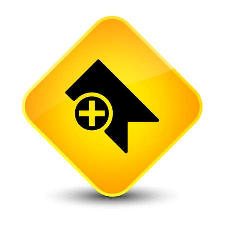 Bookmark icon isolated on elegant yellow diamond button abstract illustration Stock Photo
