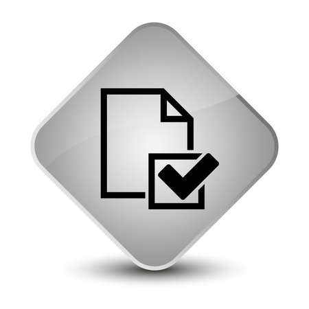 report icon: Checklist icon isolated on elegant white diamond button abstract illustration