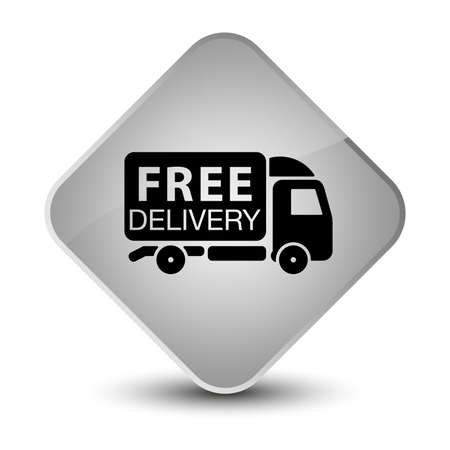 delivery service: Free delivery truck icon isolated on elegant white diamond button abstract illustration Stock Photo