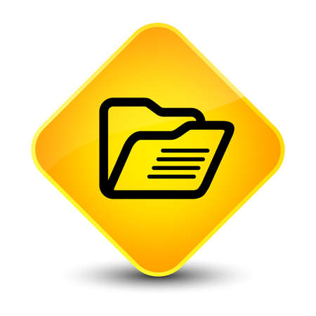 directory: Folder icon isolated on elegant yellow diamond button abstract illustration