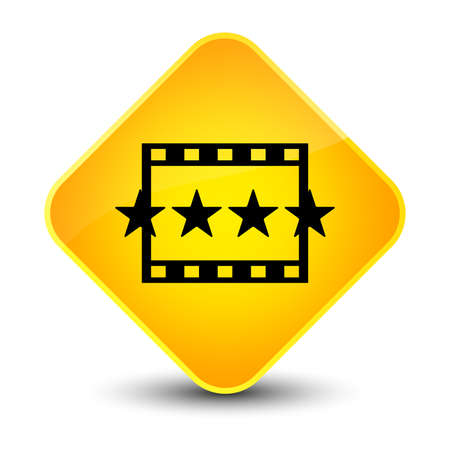 rating: Movie reviews icon isolated on elegant yellow diamond button abstract illustration Stock Photo