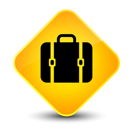Bag icon isolated on elegant yellow diamond button abstract illustration Stock Photo