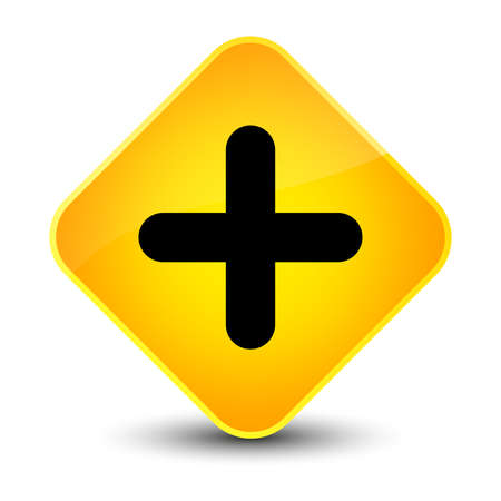 medical symbol: Plus icon isolated on elegant yellow diamond button abstract illustration Stock Photo