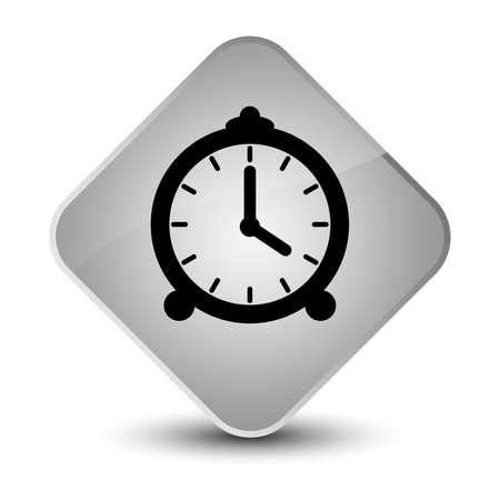 Alarm clock icon isolated on elegant white diamond button abstract illustration Stock Photo