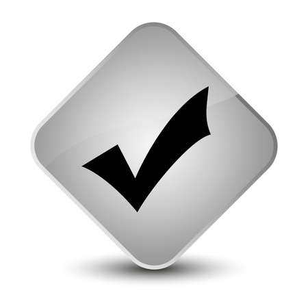 valid: Validation icon isolated on elegant white diamond button abstract illustration