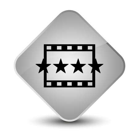 diamond: Movie reviews icon isolated on elegant white diamond button abstract illustration