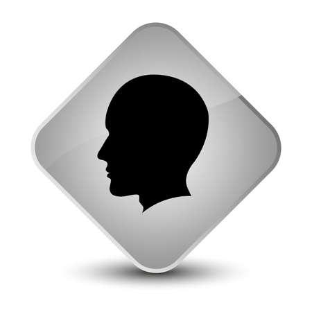 diamond: Head male face icon isolated on elegant white diamond button abstract illustration