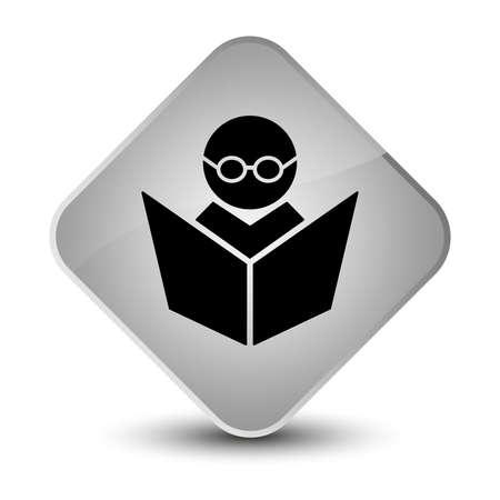 diamond: Elearning icon isolated on elegant white diamond button abstract illustration