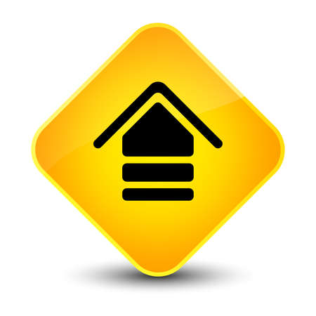 Upload icon isolated on elegant yellow diamond button abstract illustration