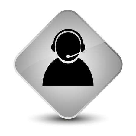 Customer care icon isolated on elegant white diamond button abstract illustration Stock Photo