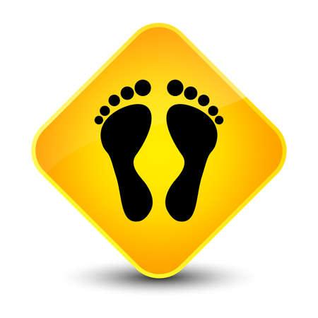 footmark: Footprint icon isolated on elegant yellow diamond button abstract illustration