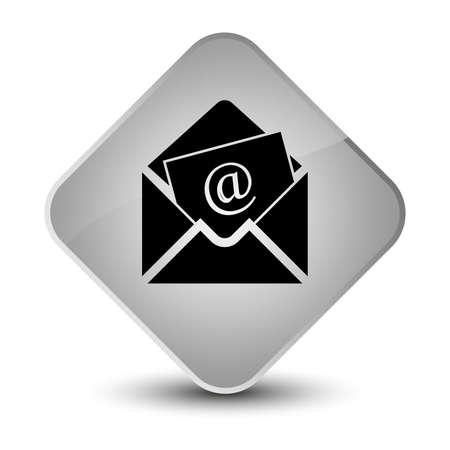 envelope: Newsletter email icon isolated on elegant white diamond button abstract illustration