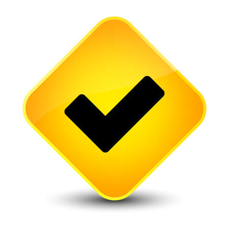 Validate icon isolated on elegant yellow diamond button abstract illustration