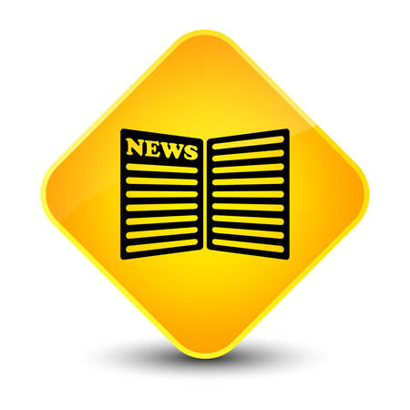 bulletin: Newspaper icon isolated on elegant yellow diamond button abstract illustration