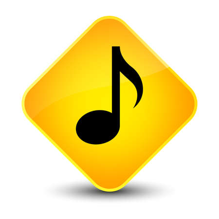 music: Music icon isolated on elegant yellow diamond button abstract illustration
