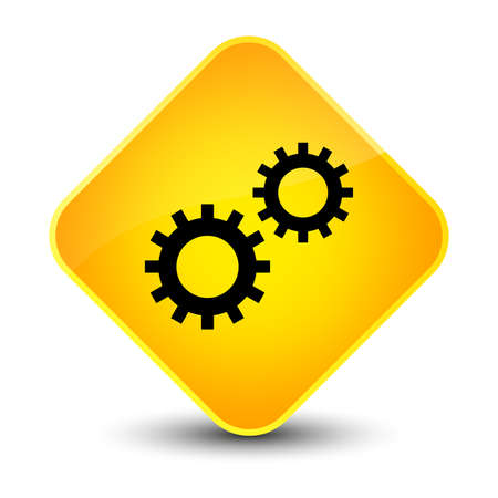 Process icon isolated on elegant yellow diamond button abstract illustration
