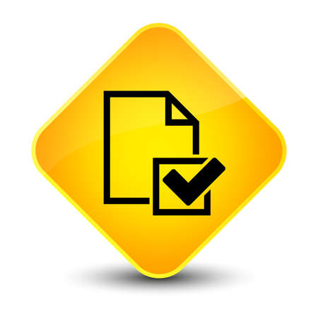 Checklist icon isolated on elegant yellow diamond button abstract illustration