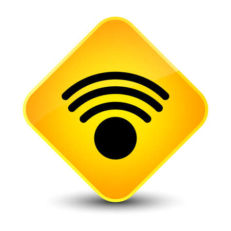 diamond: Wifi icon isolated on elegant yellow diamond button abstract illustration