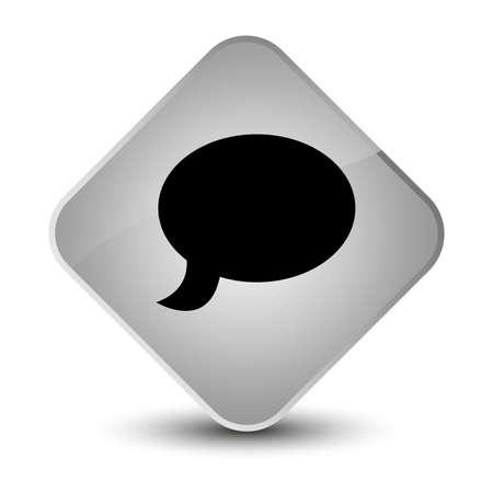 diamond: Chat icon isolated on elegant white diamond button abstract illustration