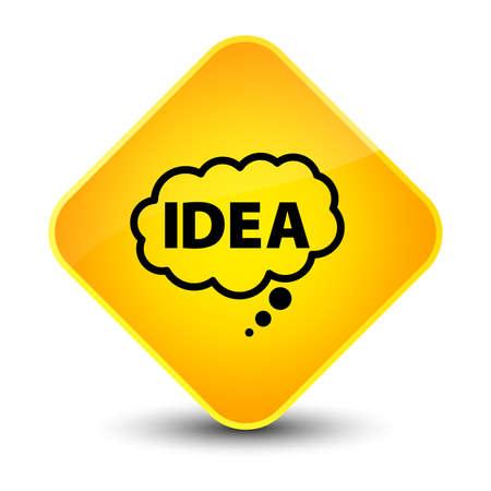 hint: Idea bubble icon isolated on elegant yellow diamond button abstract illustration Stock Photo