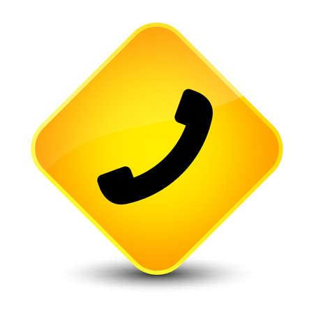 hotline: Phone icon isolated on elegant yellow diamond button abstract illustration