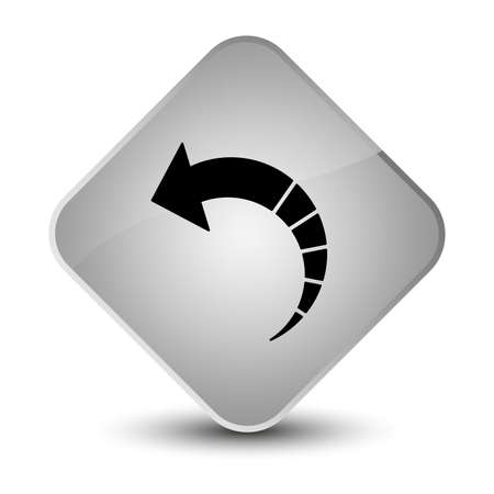 Back arrow icon isolated on elegant white diamond button abstract illustration