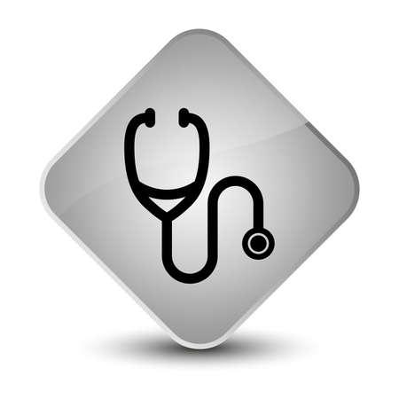 medical symbol: Stethoscope icon isolated on elegant white diamond button abstract illustration