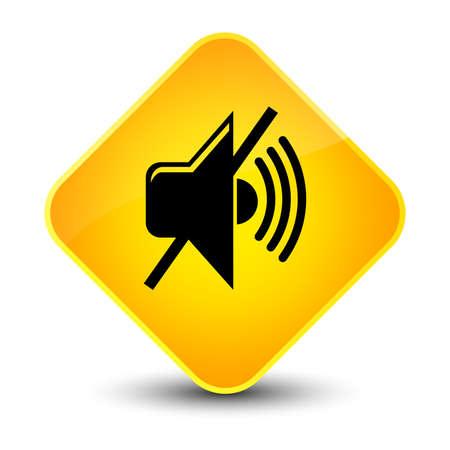 wave: Mute volume icon isolated on elegant yellow diamond button abstract illustration Stock Photo