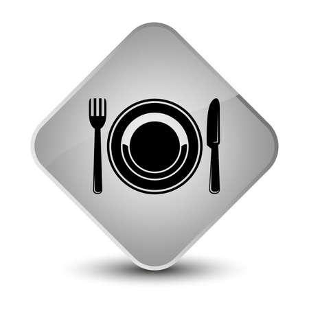 diamond plate: Food plate icon isolated on elegant white diamond button abstract illustration Stock Photo