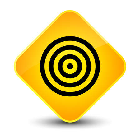 dartboard: Target icon isolated on elegant yellow diamond button abstract illustration