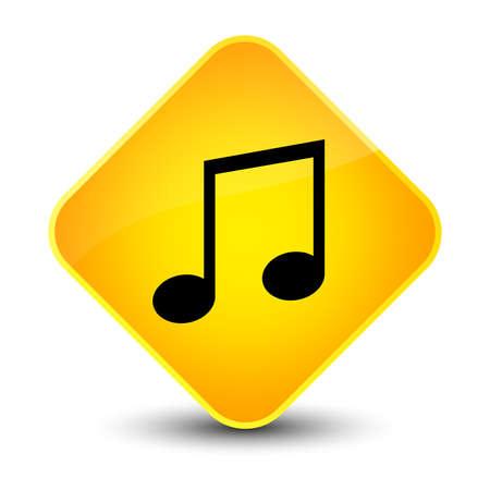 Music icon isolated on elegant yellow diamond button abstract illustration