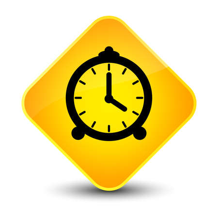 reminder: Alarm clock icon isolated on elegant yellow diamond button abstract illustration