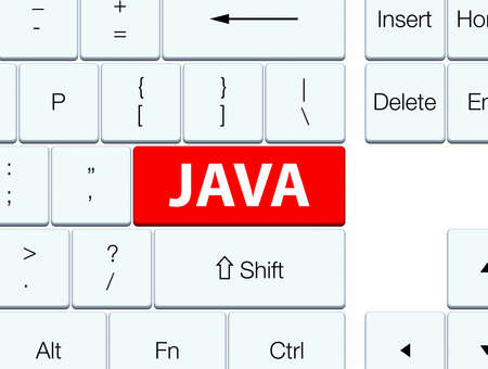 keyboard: Java isolated on red keyboard button abstract illustration