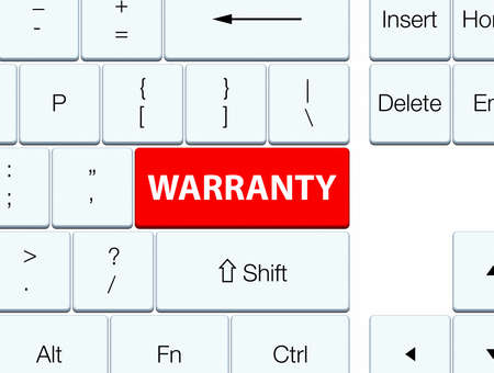 quality guarantee: Warranty isolated on red keyboard button abstract illustration Stock Photo