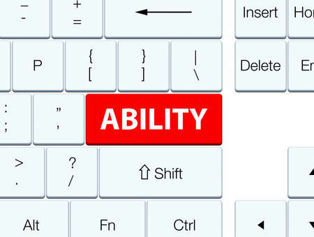 keyboard: Ability isolated on red keyboard button abstract illustration Stock Photo