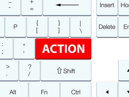 Action isolated on red keyboard button abstract illustration Фото со стока