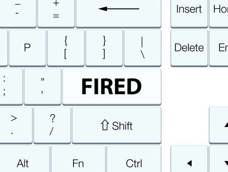 dismiss: Fired isolated on white keyboard button abstract illustration Stock Photo