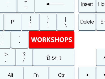 industry: Workshops isolated on red keyboard button abstract illustration