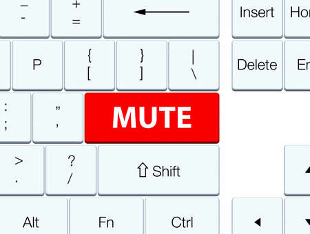 silent: Mute isolated on red keyboard button abstract illustration Stock Photo