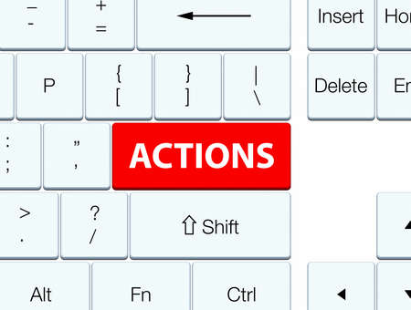 Actions isolated on red keyboard button abstract illustration