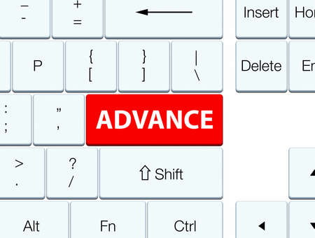 contemporary: Advance isolated on red keyboard button abstract illustration