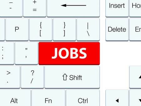 jobs: Jobs isolated on red keyboard button abstract illustration Stock Photo