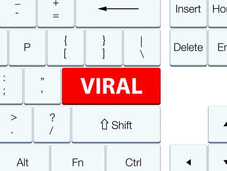 widely: Viral isolated on red keyboard button abstract illustration